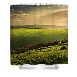 Illuminated Evening Landscape North Devon Shower Curtain by Dorit Fuhg