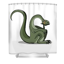 Illustration Of A Brontosaurus Thinking Shower Curtain by Stocktrek Images