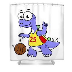Illustration Of A Stegosaurus Playing Shower Curtain by Stocktrek Images