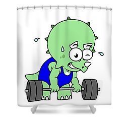 Illustration Of A Triceratops Lifting Shower Curtain by Stocktrek Images