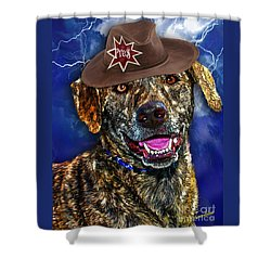 Shower Curtain featuring the digital art I'm A Canine Community Reporter by Kathy Tarochione