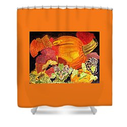 Shower Curtain featuring the painting I'm Hiding In The Pumpkin Patch by Angela Davies