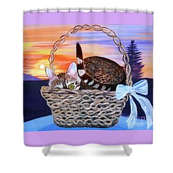 Shower Curtain featuring the painting I'm Hiding   Oil Painting by Phyllis Kaltenbach