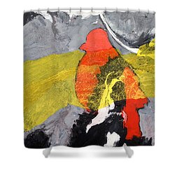 Red Bird Flyaway Shower Curtain