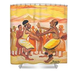 Imbiyino Dance From Rwanda Shower Curtain by Emmanuel Baliyanga