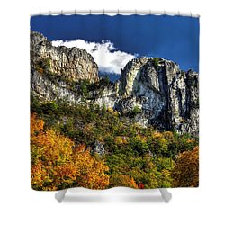 Imposing Seneca Rocks - Seneca Rocks National Recreation Area Wv Autumn Mid-afternoon Shower Curtain by Michael Mazaika