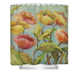 Shower Curtain featuring the painting Impressionist Floral Painting by Mary Wolf