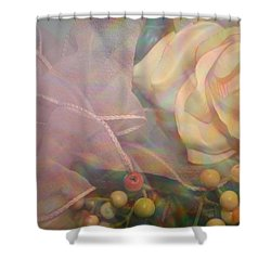 Shower Curtain featuring the photograph Impressionistic Pink Rose With Ribbon by Dora Sofia Caputo Photographic Art and Design