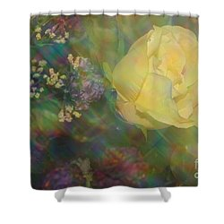Shower Curtain featuring the photograph Impressionistic Yellow Rose by Dora Sofia Caputo Photographic Art and Design