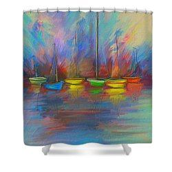Impressions Of A Newport Beach Sunset Shower Curtain by Angela A Stanton