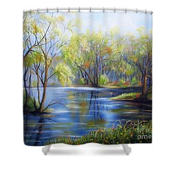 Impressions Of Spring Shower Curtain by Vesna Martinjak
