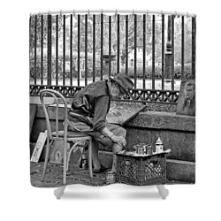 In Another World Monochrome Shower Curtain by Steve Harrington