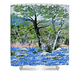 In April-texas Bluebonnets Shower Curtain