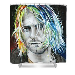 Kurt Cobain - ' In Debt For My Thirst ' Shower Curtain by Christian Chapman Art