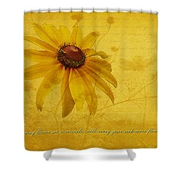 In Every Flower See A Miracle Shower Curtain by Mother Nature