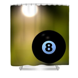 In Front Of The Eight Ball Shower Curtain by Bob Orsillo