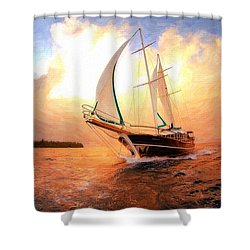 In Full Sail - Oil Painting Edition Shower Curtain by Lilia D