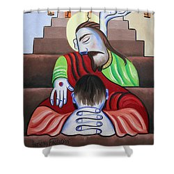 In Jesus Name Shower Curtain by Anthony Falbo