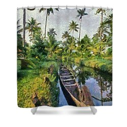In The Backwaters Of Kerala Shower Curtain
