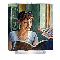 Shower Curtain featuring the painting In The Book Store by Irina Sztukowski