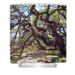 In The Depth Of Enchanting Forest Vii Shower Curtain by Jenny Rainbow
