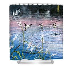 Shower Curtain featuring the painting In The Dusk by Melly Terpening