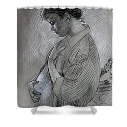 Shower Curtain featuring the drawing In The Family Way by Viola El
