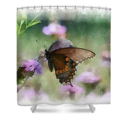 Shower Curtain featuring the photograph In The Flowers by Kerri Farley