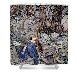 In The Forked Glen Into Which He Slipped At Night-fall He Was Surrounded By Giant Toads Shower Curtain by Arthur Rackham