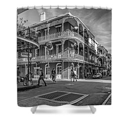 In The French Quarter Monochrome Shower Curtain by Steve Harrington