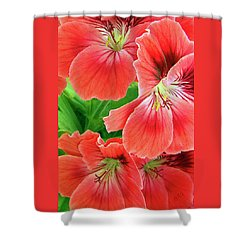 In The Garden. Geranium Shower Curtain by Ben and Raisa Gertsberg