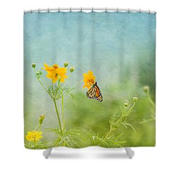 In The Garden - Monarch Butterfly Shower Curtain by Kim Hojnacki