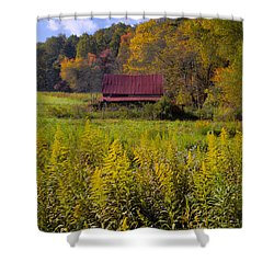 In The Heart Of Autumn Shower Curtain by Debra and Dave Vanderlaan
