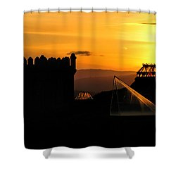 In The Land Of The Sunset Spires Shower Curtain