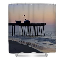 In The Morning On The Beach Ocean City Shower Curtain by Bill Cannon