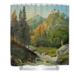 In The Mountains  Shower Curtain by Sorin Apostolescu