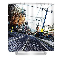 In The Path Of A Cable Car Shower Curtain by Holly Blunkall