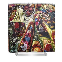 In The Same Boat Shower Curtain by Belinda Low