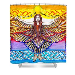 In The Shadow Of Thy Wings Psalms Shower Curtain by Hidden  Mountain