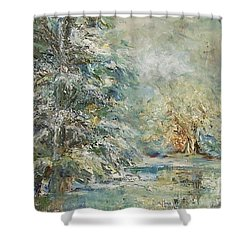 In The Snowy Silence Shower Curtain by Mary Wolf