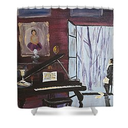 Shower Curtain featuring the painting In The Still Of The Night by Alan Lakin