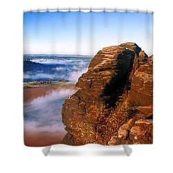 In The Sun Glowing Rock On The Lilienstein Shower Curtain