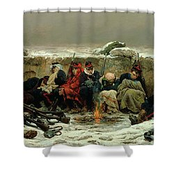 In The Trenches Shower Curtain by Alphonse Marie de Neuville