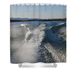 In The Wake Of Lake Havasu Az  Shower Curtain by Cathy Anderson