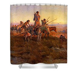 In The Wake Of The Buffalo Hunters Shower Curtain by Charles Russell