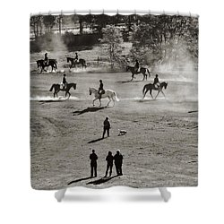 Shower Curtain featuring the photograph In The Warm Up by Joan Davis