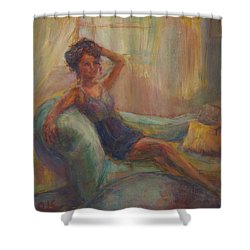 In The Window Light Shower Curtain by Quin Sweetman