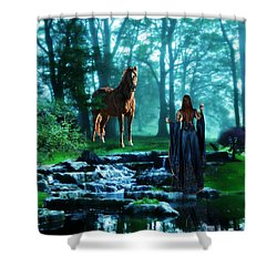 In The Woods Shower Curtain by Davandra Cribbie