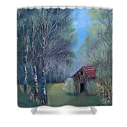 In The Woods Shower Curtain by Suzanne Theis