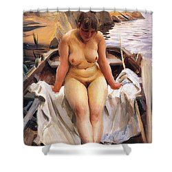 In Werners Rowing Boat Shower Curtain by Anders Zorn